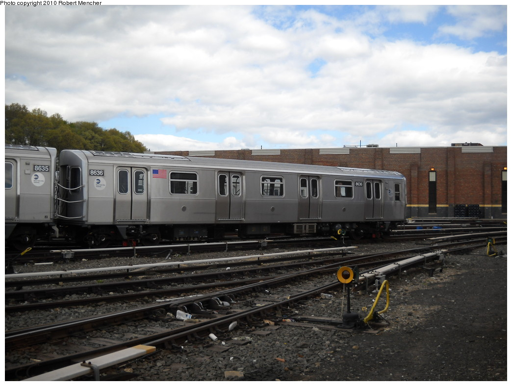 (224k, 1044x788)<br><b>Country:</b> United States<br><b>City:</b> New York<br><b>System:</b> New York City Transit<br><b>Location:</b> East New York Yard/Shops<br><b>Car:</b> R-160A-1 (Alstom, 2005-2008, 4 car sets)  8536 <br><b>Photo by:</b> Robert Mencher<br><b>Date:</b> 4/19/2010<br><b>Viewed (this week/total):</b> 0 / 217
