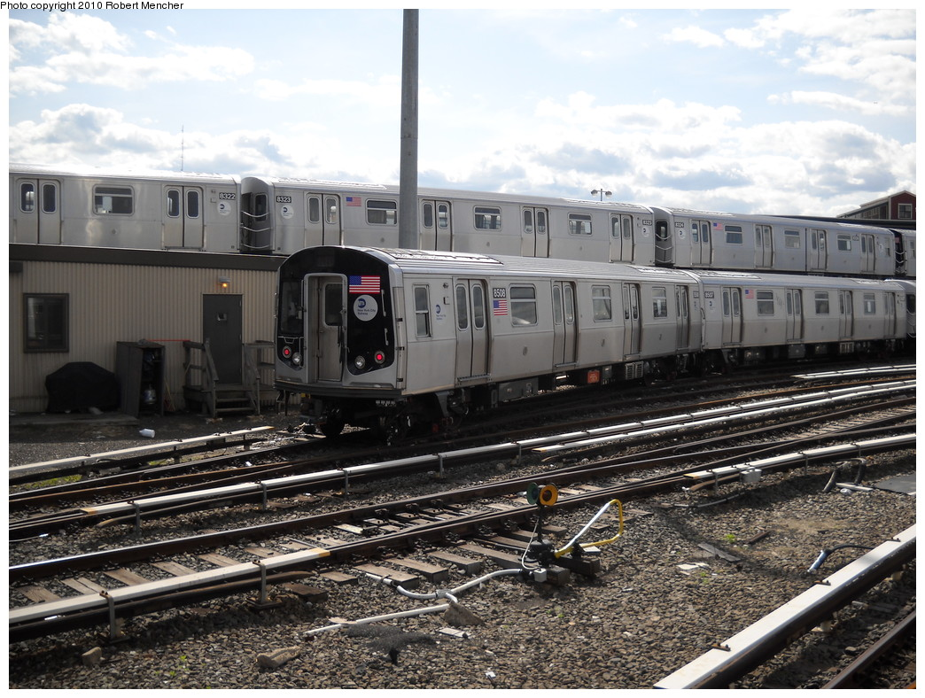 (291k, 1044x788)<br><b>Country:</b> United States<br><b>City:</b> New York<br><b>System:</b> New York City Transit<br><b>Location:</b> East New York Yard/Shops<br><b>Car:</b> R-160A-1 (Alstom, 2005-2008, 4 car sets)  8508+8323 <br><b>Photo by:</b> Robert Mencher<br><b>Date:</b> 4/20/2010<br><b>Viewed (this week/total):</b> 1 / 423