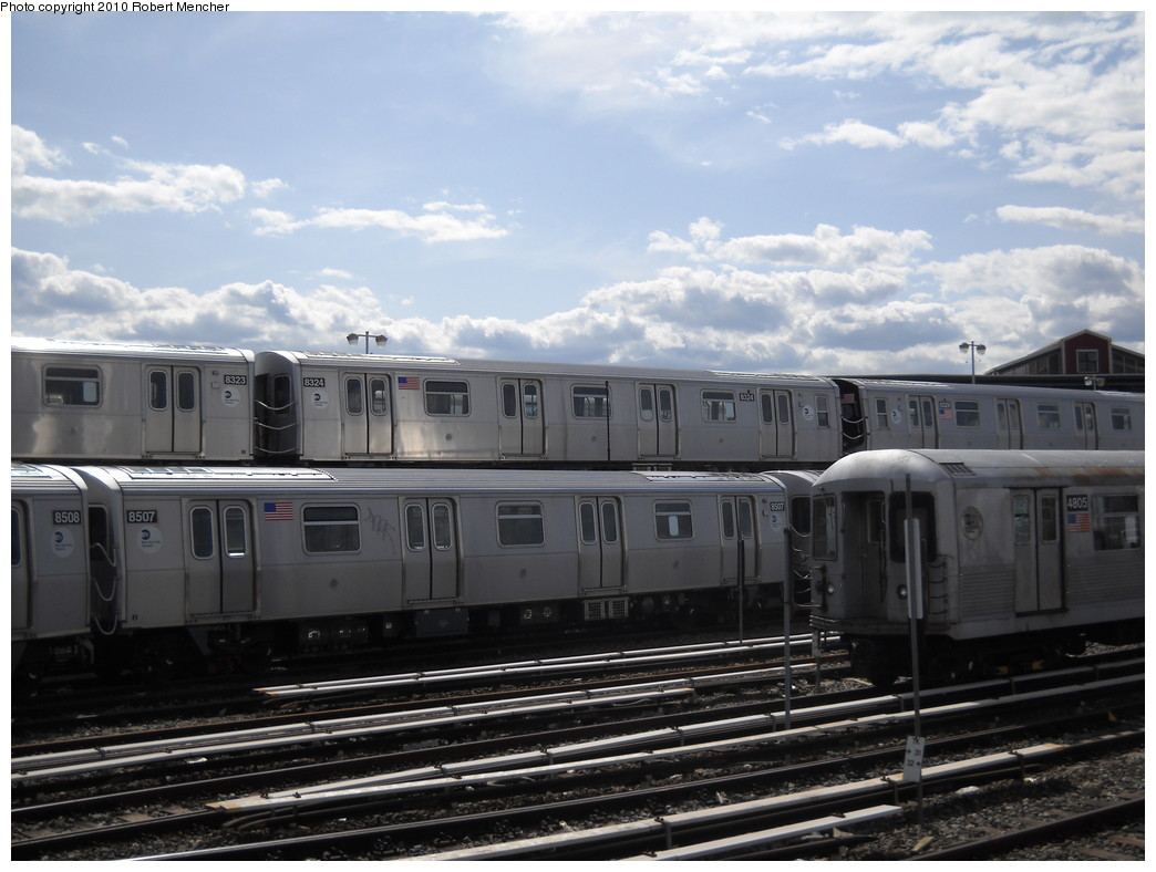 (217k, 1044x788)<br><b>Country:</b> United States<br><b>City:</b> New York<br><b>System:</b> New York City Transit<br><b>Location:</b> East New York Yard/Shops<br><b>Car:</b> R-160A-1 (Alstom, 2005-2008, 4 car sets)  8507+8324 <br><b>Photo by:</b> Robert Mencher<br><b>Date:</b> 4/20/2010<br><b>Viewed (this week/total):</b> 0 / 283