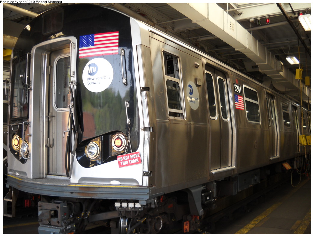 (245k, 1044x788)<br><b>Country:</b> United States<br><b>City:</b> New York<br><b>System:</b> New York City Transit<br><b>Location:</b> East New York Yard/Shops<br><b>Car:</b> R-160A-1 (Alstom, 2005-2008, 4 car sets)  8341 <br><b>Photo by:</b> Robert Mencher<br><b>Date:</b> 4/21/2010<br><b>Viewed (this week/total):</b> 0 / 400
