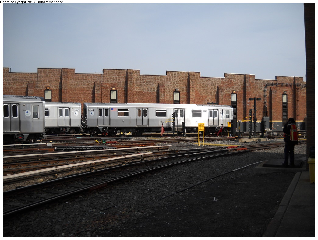 (232k, 1044x788)<br><b>Country:</b> United States<br><b>City:</b> New York<br><b>System:</b> New York City Transit<br><b>Location:</b> East New York Yard/Shops<br><b>Car:</b> R-160A-1 (Alstom, 2005-2008, 4 car sets)  8557 <br><b>Photo by:</b> Robert Mencher<br><b>Date:</b> 4/21/2010<br><b>Viewed (this week/total):</b> 0 / 324