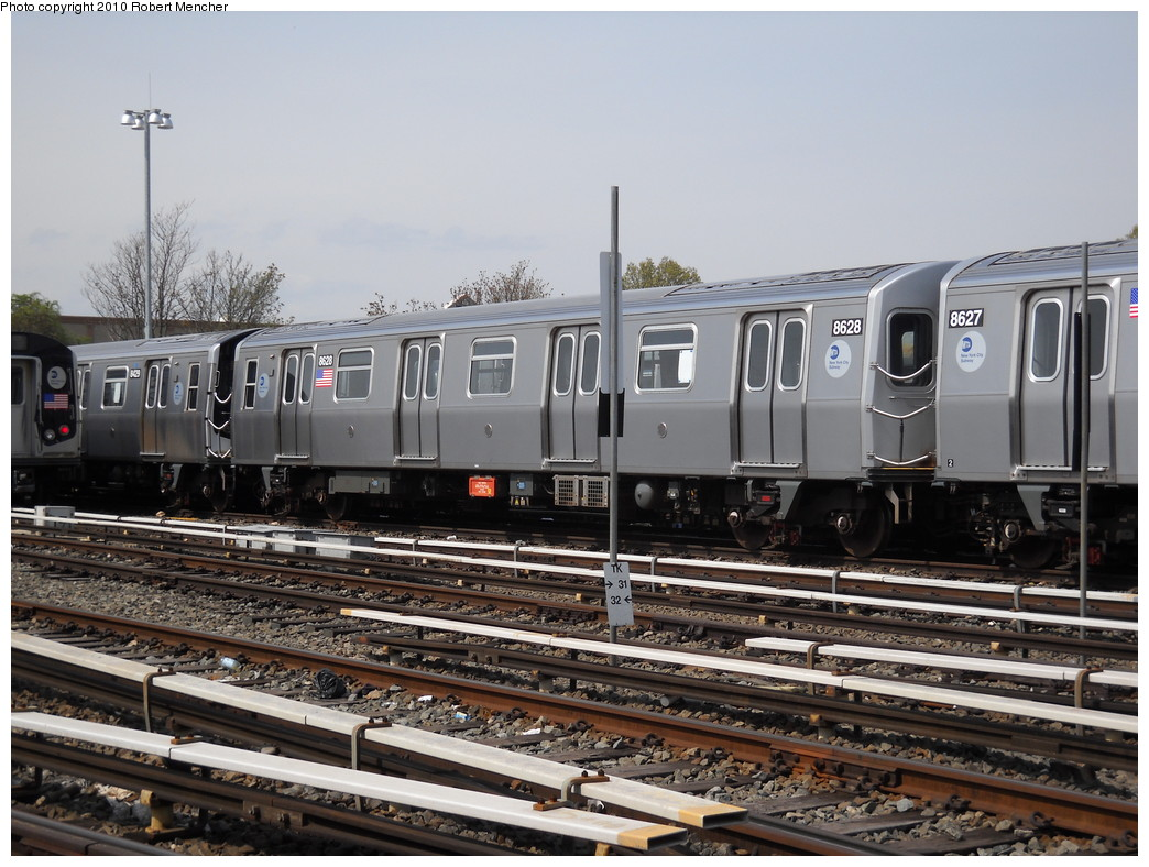(259k, 1044x788)<br><b>Country:</b> United States<br><b>City:</b> New York<br><b>System:</b> New York City Transit<br><b>Location:</b> East New York Yard/Shops<br><b>Car:</b> R-160A-1 (Alstom, 2005-2008, 4 car sets)  8628 <br><b>Photo by:</b> Robert Mencher<br><b>Date:</b> 4/21/2010<br><b>Viewed (this week/total):</b> 0 / 465