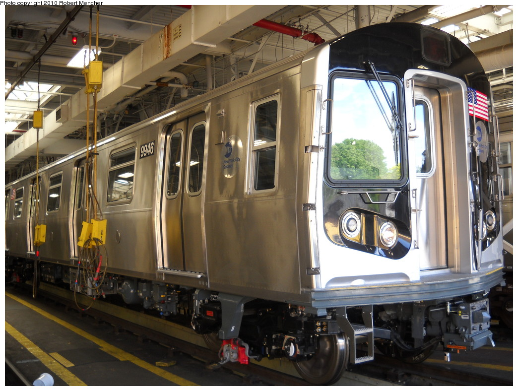 (273k, 1044x788)<br><b>Country:</b> United States<br><b>City:</b> New York<br><b>System:</b> New York City Transit<br><b>Location:</b> East New York Yard/Shops<br><b>Car:</b> R-160A (Option 2) (Alstom, 2009, 4-car sets)  9946 <br><b>Photo by:</b> Robert Mencher<br><b>Date:</b> 5/4/2010<br><b>Viewed (this week/total):</b> 1 / 430