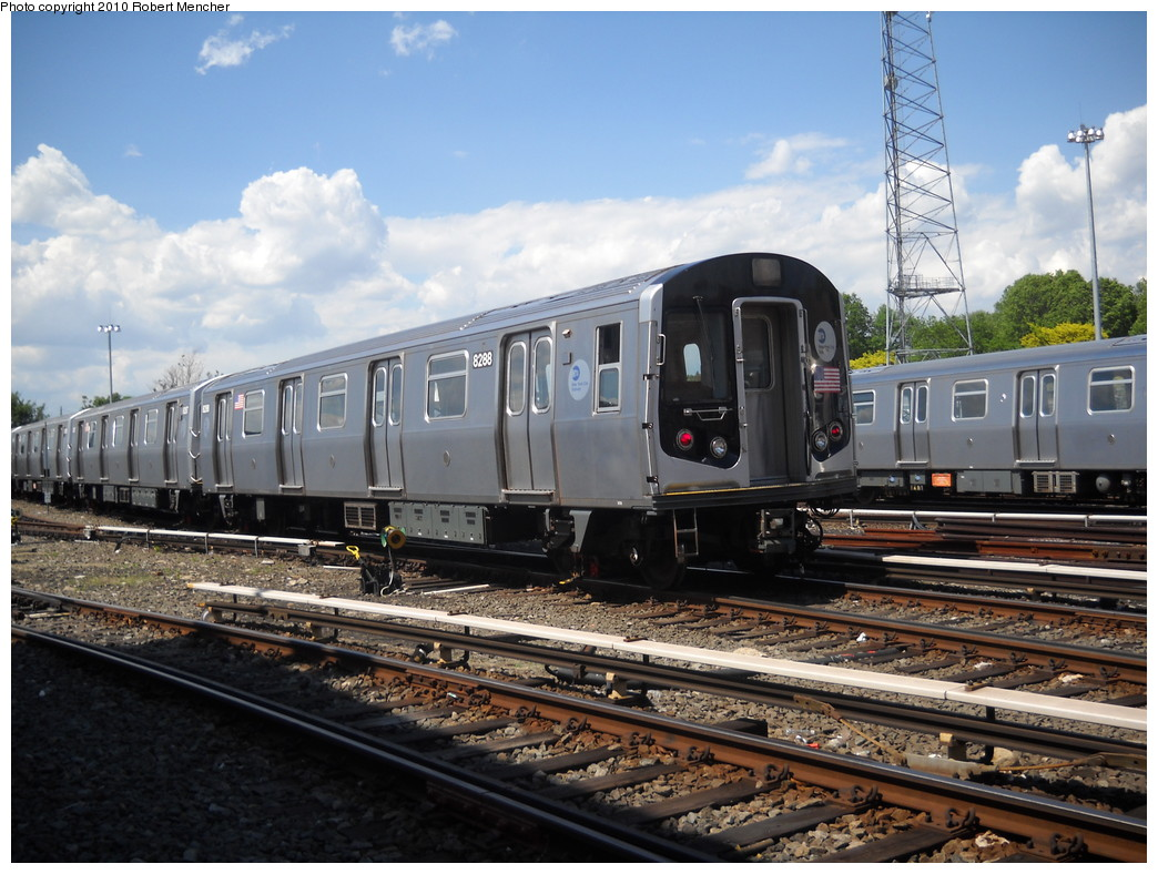 (264k, 1044x788)<br><b>Country:</b> United States<br><b>City:</b> New York<br><b>System:</b> New York City Transit<br><b>Location:</b> East New York Yard/Shops<br><b>Car:</b> R-143 (Kawasaki, 2001-2002) 8288 <br><b>Photo by:</b> Robert Mencher<br><b>Date:</b> 5/4/2010<br><b>Viewed (this week/total):</b> 0 / 283
