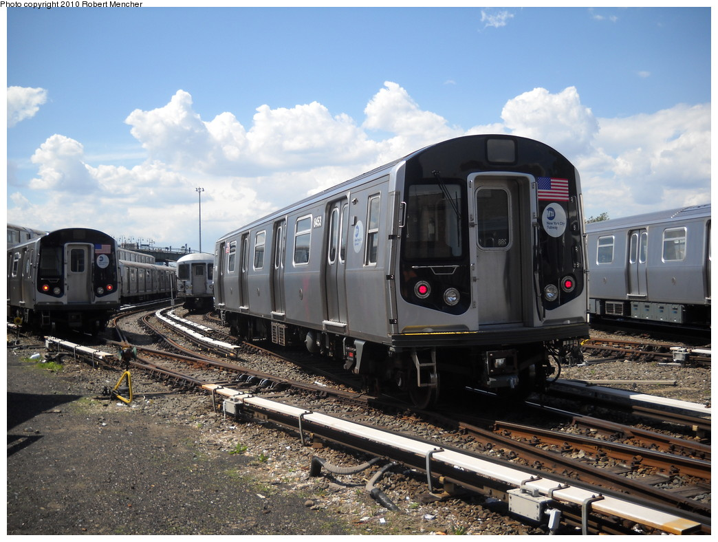 (274k, 1044x788)<br><b>Country:</b> United States<br><b>City:</b> New York<br><b>System:</b> New York City Transit<br><b>Location:</b> East New York Yard/Shops<br><b>Car:</b> R-160A-1 (Alstom, 2005-2008, 4 car sets)  8453 <br><b>Photo by:</b> Robert Mencher<br><b>Date:</b> 5/4/2010<br><b>Viewed (this week/total):</b> 0 / 432