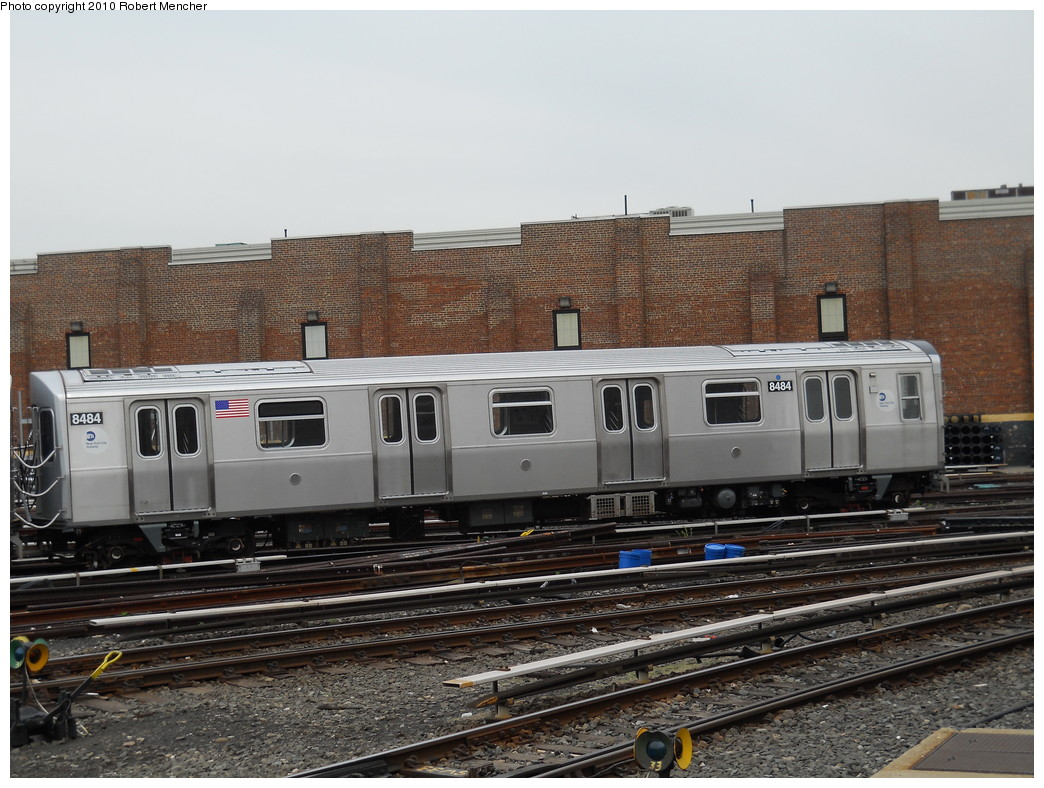 (283k, 1044x788)<br><b>Country:</b> United States<br><b>City:</b> New York<br><b>System:</b> New York City Transit<br><b>Location:</b> East New York Yard/Shops<br><b>Car:</b> R-160A-1 (Alstom, 2005-2008, 4 car sets)  8484 <br><b>Photo by:</b> Robert Mencher<br><b>Date:</b> 5/17/2010<br><b>Viewed (this week/total):</b> 1 / 248