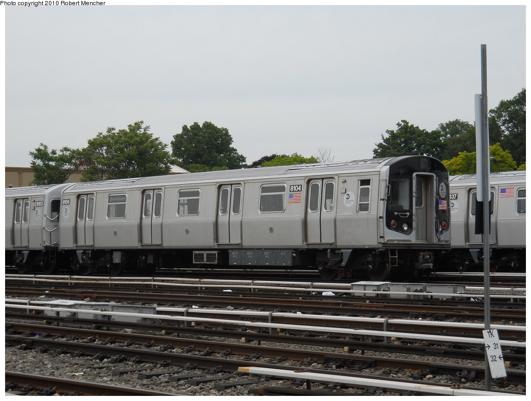 (253k, 1044x788)<br><b>Country:</b> United States<br><b>City:</b> New York<br><b>System:</b> New York City Transit<br><b>Location:</b> East New York Yard/Shops<br><b>Car:</b> R-143 (Kawasaki, 2001-2002) 8104 <br><b>Photo by:</b> Robert Mencher<br><b>Date:</b> 5/17/2010<br><b>Viewed (this week/total):</b> 1 / 236