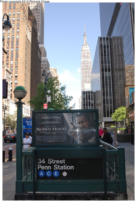 (200k, 555x819)<br><b>Country:</b> United States<br><b>City:</b> New York<br><b>System:</b> New York City Transit<br><b>Line:</b> IND 8th Avenue Line<br><b>Location:</b> 34th Street/Penn Station <br><b>Photo by:</b> Richard Chase<br><b>Date:</b> 5/8/2010<br><b>Notes:</b> Station entrance.<br><b>Viewed (this week/total):</b> 0 / 694
