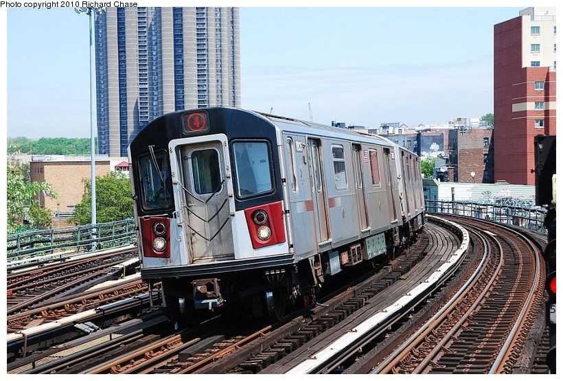 (176k, 820x555)<br><b>Country:</b> United States<br><b>City:</b> New York<br><b>System:</b> New York City Transit<br><b>Line:</b> IRT Woodlawn Line<br><b>Location:</b> Bedford Park Boulevard <br><b>Route:</b> 4<br><b>Car:</b> R-142 or R-142A (Number Unknown)  <br><b>Photo by:</b> Richard Chase<br><b>Date:</b> 5/8/2010<br><b>Viewed (this week/total):</b> 9 / 772