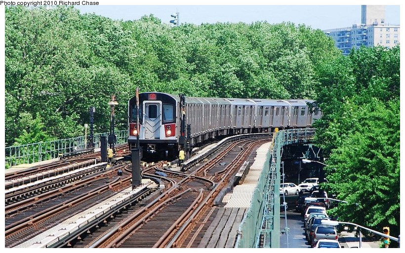 (222k, 820x514)<br><b>Country:</b> United States<br><b>City:</b> New York<br><b>System:</b> New York City Transit<br><b>Line:</b> IRT Woodlawn Line<br><b>Location:</b> Kingsbridge Road <br><b>Route:</b> 4<br><b>Car:</b> R-142 or R-142A (Number Unknown)  <br><b>Photo by:</b> Richard Chase<br><b>Date:</b> 5/8/2010<br><b>Viewed (this week/total):</b> 1 / 662