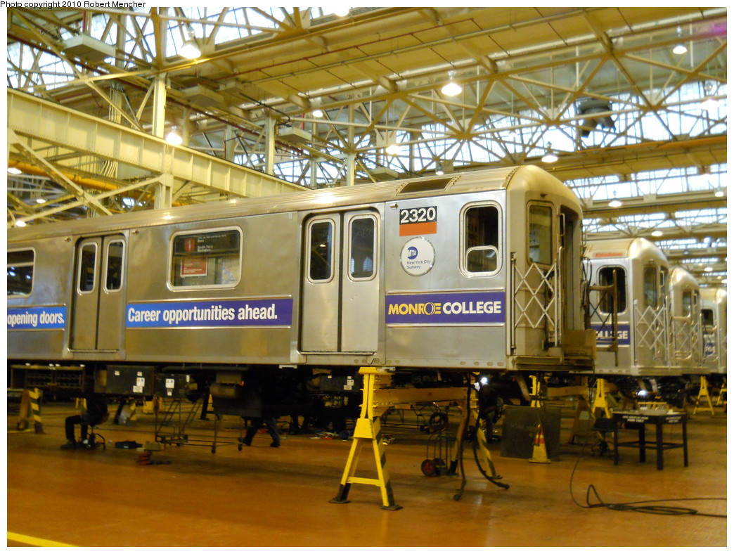 (318k, 1044x788)<br><b>Country:</b> United States<br><b>City:</b> New York<br><b>System:</b> New York City Transit<br><b>Location:</b> Coney Island Shop/Overhaul & Repair Shop<br><b>Car:</b> R-62A (Bombardier, 1984-1987)  2320 <br><b>Photo by:</b> Robert Mencher<br><b>Date:</b> 5/26/2010<br><b>Viewed (this week/total):</b> 2 / 752