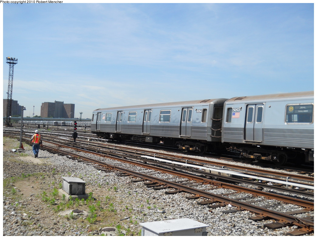 (305k, 1044x788)<br><b>Country:</b> United States<br><b>City:</b> New York<br><b>System:</b> New York City Transit<br><b>Location:</b> Coney Island Yard<br><b>Car:</b> R-68A (Kawasaki, 1988-1989)  5054 <br><b>Photo by:</b> Robert Mencher<br><b>Date:</b> 5/26/2010<br><b>Viewed (this week/total):</b> 0 / 647