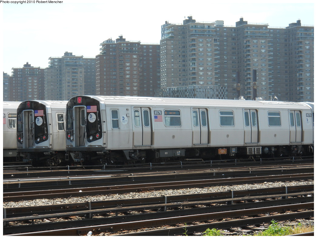 (288k, 1044x788)<br><b>Country:</b> United States<br><b>City:</b> New York<br><b>System:</b> New York City Transit<br><b>Location:</b> Coney Island Yard<br><b>Car:</b> R-160A-1 (Alstom, 2005-2008, 4 car sets)  8576 <br><b>Photo by:</b> Robert Mencher<br><b>Date:</b> 5/26/2010<br><b>Viewed (this week/total):</b> 0 / 424