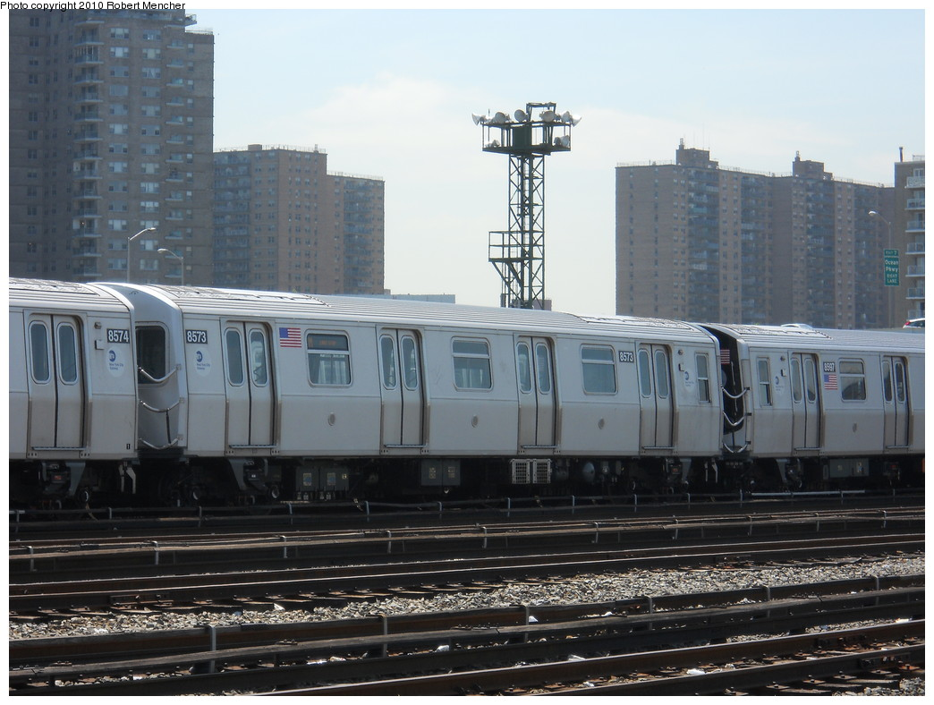 (260k, 1044x788)<br><b>Country:</b> United States<br><b>City:</b> New York<br><b>System:</b> New York City Transit<br><b>Location:</b> Coney Island Yard<br><b>Car:</b> R-160A-1 (Alstom, 2005-2008, 4 car sets)  8573 <br><b>Photo by:</b> Robert Mencher<br><b>Date:</b> 5/26/2010<br><b>Viewed (this week/total):</b> 0 / 402