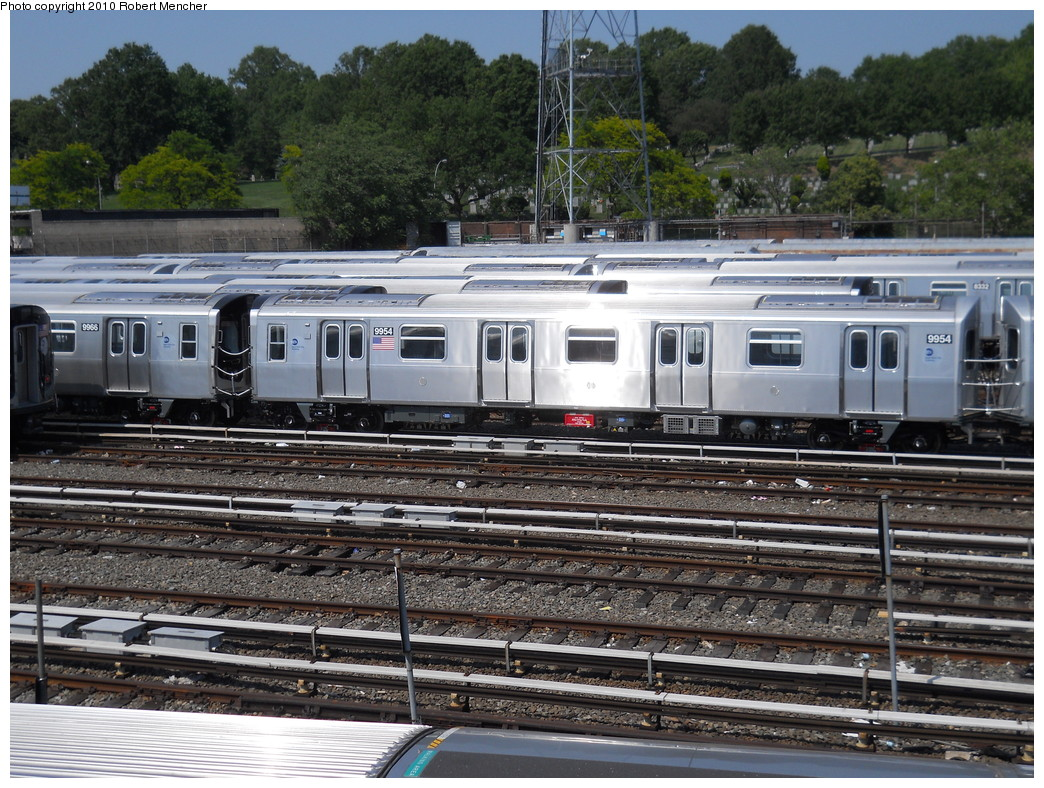 (345k, 1044x788)<br><b>Country:</b> United States<br><b>City:</b> New York<br><b>System:</b> New York City Transit<br><b>Location:</b> East New York Yard/Shops<br><b>Car:</b> R-160A (Option 2) (Alstom, 2009, 4-car sets)  9954 <br><b>Photo by:</b> Robert Mencher<br><b>Date:</b> 5/26/2010<br><b>Viewed (this week/total):</b> 1 / 729