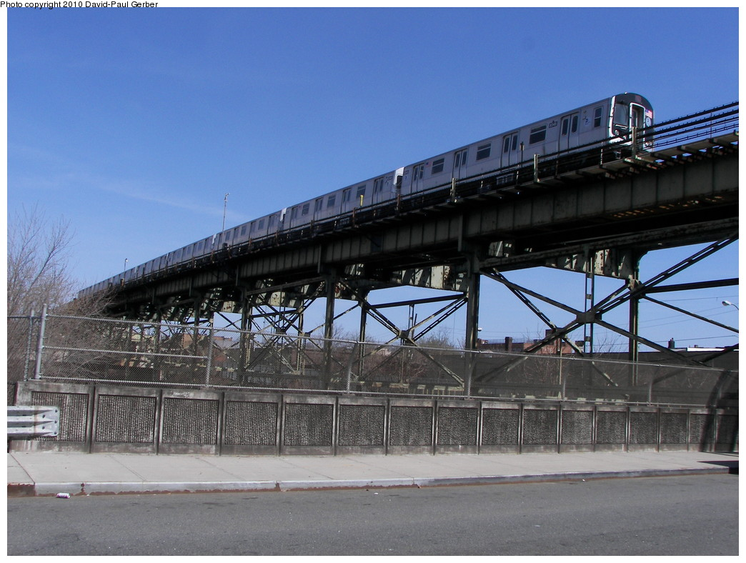 (273k, 1044x788)<br><b>Country:</b> United States<br><b>City:</b> New York<br><b>System:</b> New York City Transit<br><b>Line:</b> BMT Canarsie Line<br><b>Location:</b> Sutter Avenue <br><b>Route:</b> L<br><b>Car:</b> R-160A-1 (Alstom, 2005-2008, 4 car sets)  8345 <br><b>Photo by:</b> David-Paul Gerber<br><b>Date:</b> 4/3/2010<br><b>Notes:</b> On Glenmore Ave and Junius St, Rockaway Parkway-bound train.<br><b>Viewed (this week/total):</b> 3 / 1156