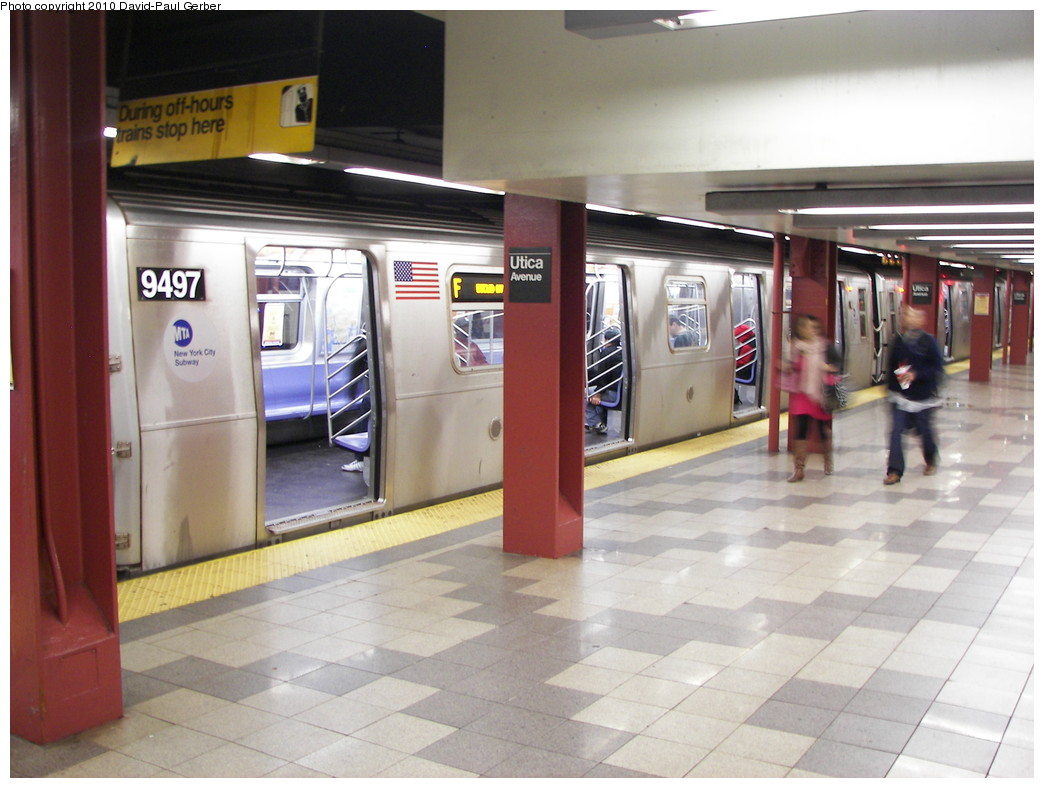 (240k, 1044x788)<br><b>Country:</b> United States<br><b>City:</b> New York<br><b>System:</b> New York City Transit<br><b>Line:</b> IND Fulton Street Line<br><b>Location:</b> Utica Avenue <br><b>Route:</b> F reroute<br><b>Car:</b> R-160A (Option 1) (Alstom, 2008-2009, 5 car sets)  9497 <br><b>Photo by:</b> David-Paul Gerber<br><b>Date:</b> 4/17/2010<br><b>Notes:</b> The low ceiling is the shell for the never built IND Utica Ave line<br><b>Viewed (this week/total):</b> 0 / 1109