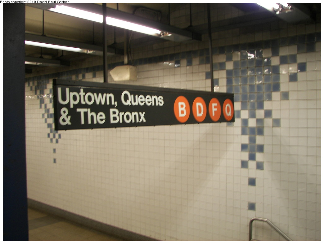 (197k, 1044x788)<br><b>Country:</b> United States<br><b>City:</b> New York<br><b>System:</b> New York City Transit<br><b>Line:</b> IND 6th Avenue Line<br><b>Location:</b> Broadway/Lafayette <br><b>Photo by:</b> David-Paul Gerber<br><b>Date:</b> 4/29/2010<br><b>Notes:</b> Notice the orange Q - - it appears that the V sticker was removed or never covered. Soon to be orange M.<br><b>Viewed (this week/total):</b> 2 / 1262