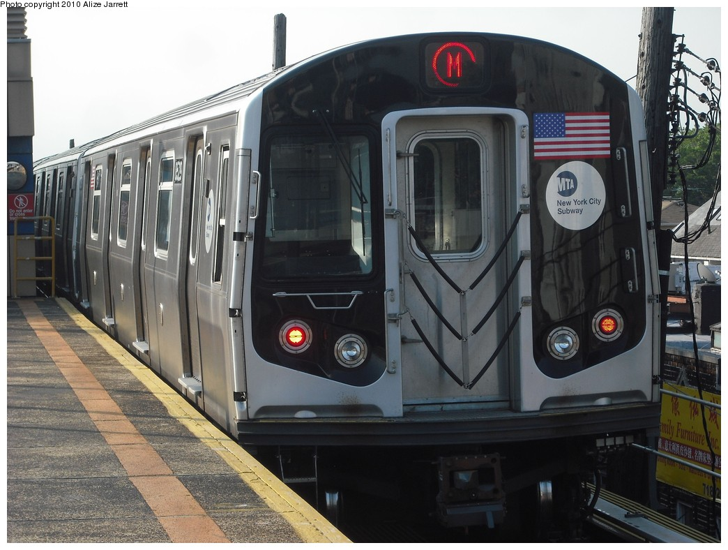 (206k, 1044x788)<br><b>Country:</b> United States<br><b>City:</b> New York<br><b>System:</b> New York City Transit<br><b>Line:</b> BMT West End Line<br><b>Location:</b> Bay Parkway <br><b>Route:</b> M<br><b>Car:</b> R-160A-1 (Alstom, 2005-2008, 4 car sets)  8529 <br><b>Photo by:</b> Alize Jarrett<br><b>Date:</b> 6/24/2010<br><b>Viewed (this week/total):</b> 2 / 433