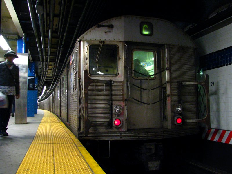 (99k, 800x600)<br><b>Country:</b> United States<br><b>City:</b> New York<br><b>System:</b> New York City Transit<br><b>Line:</b> IND 8th Avenue Line<br><b>Location:</b> 59th Street/Columbus Circle <br><b>Route:</b> C<br><b>Car:</b> R-32 (Budd, 1964)  3454 <br><b>Photo by:</b> Bill E.<br><b>Date:</b> 4/3/2010<br><b>Viewed (this week/total):</b> 6 / 659