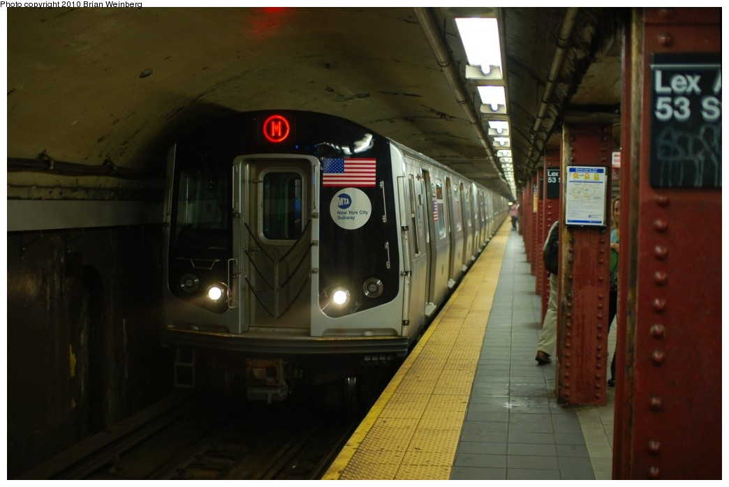 (189k, 1044x698)<br><b>Country:</b> United States<br><b>City:</b> New York<br><b>System:</b> New York City Transit<br><b>Line:</b> IND Queens Boulevard Line<br><b>Location:</b> Lexington Avenue-53rd Street <br><b>Route:</b> M<br><b>Car:</b> R-160A-1 (Alstom, 2005-2008, 4 car sets)  8529 <br><b>Photo by:</b> Brian Weinberg<br><b>Date:</b> 6/28/2010<br><b>Notes:</b> This was the first Orange (M) through the Chrystie Street Connection.<br><b>Viewed (this week/total):</b> 4 / 744