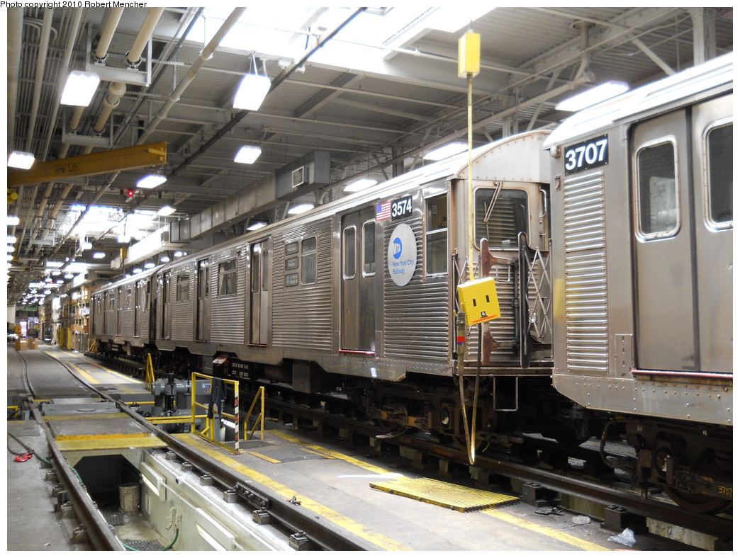 (315k, 1044x788)<br><b>Country:</b> United States<br><b>City:</b> New York<br><b>System:</b> New York City Transit<br><b>Location:</b> East New York Yard/Shops<br><b>Car:</b> R-32 (Budd, 1964)  3574 <br><b>Photo by:</b> Robert Mencher<br><b>Date:</b> 7/3/2010<br><b>Viewed (this week/total):</b> 3 / 462