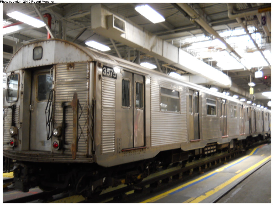 (235k, 1044x788)<br><b>Country:</b> United States<br><b>City:</b> New York<br><b>System:</b> New York City Transit<br><b>Location:</b> East New York Yard/Shops<br><b>Car:</b> R-32 (Budd, 1964)  3575 <br><b>Photo by:</b> Robert Mencher<br><b>Date:</b> 7/3/2010<br><b>Viewed (this week/total):</b> 1 / 490