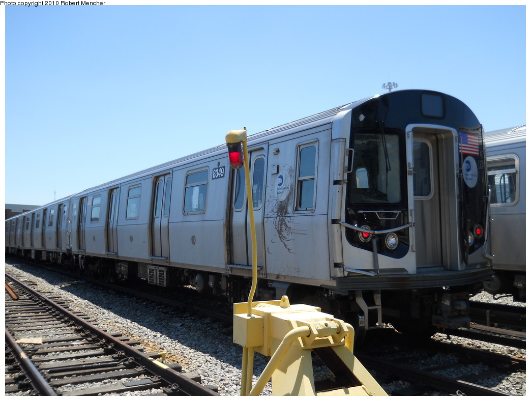 (245k, 1044x788)<br><b>Country:</b> United States<br><b>City:</b> New York<br><b>System:</b> New York City Transit<br><b>Location:</b> East New York Yard/Shops<br><b>Car:</b> R-143 (Kawasaki, 2001-2002) 8349 <br><b>Photo by:</b> Robert Mencher<br><b>Date:</b> 7/3/2010<br><b>Viewed (this week/total):</b> 0 / 347