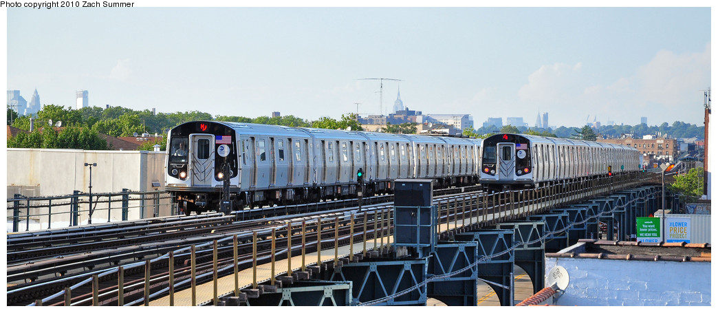 (202k, 1044x455)<br><b>Country:</b> United States<br><b>City:</b> New York<br><b>System:</b> New York City Transit<br><b>Line:</b> BMT West End Line<br><b>Location:</b> 18th Avenue <br><b>Route:</b> M<br><b>Car:</b> R-160A-1 (Alstom, 2005-2008, 4 car sets)  8569 / 8444 <br><b>Photo by:</b> Zach Summer<br><b>Date:</b> 6/24/2010<br><b>Viewed (this week/total):</b> 1 / 663