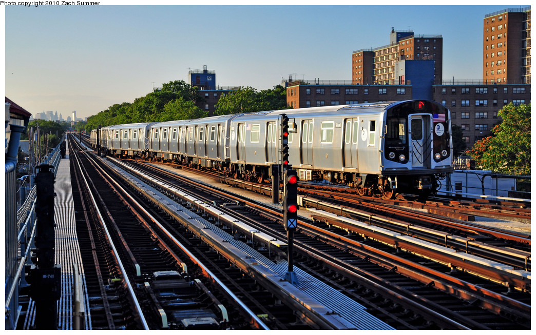 (332k, 1044x653)<br><b>Country:</b> United States<br><b>City:</b> New York<br><b>System:</b> New York City Transit<br><b>Line:</b> BMT West End Line<br><b>Location:</b> Bay 50th Street <br><b>Route:</b> M yard move<br><b>Car:</b> R-160A-1 (Alstom, 2005-2008, 4 car sets)  8600 <br><b>Photo by:</b> Zach Summer<br><b>Date:</b> 6/24/2010<br><b>Viewed (this week/total):</b> 3 / 812
