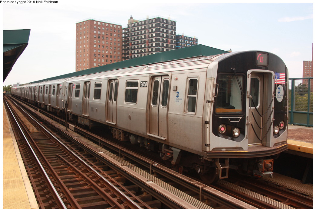 (225k, 1044x703)<br><b>Country:</b> United States<br><b>City:</b> New York<br><b>System:</b> New York City Transit<br><b>Line:</b> BMT Brighton Line<br><b>Location:</b> West 8th Street <br><b>Route:</b> Q<br><b>Car:</b> R-160B (Kawasaki, 2005-2008)  8858 <br><b>Photo by:</b> Neil Feldman<br><b>Date:</b> 6/28/2010<br><b>Viewed (this week/total):</b> 3 / 521