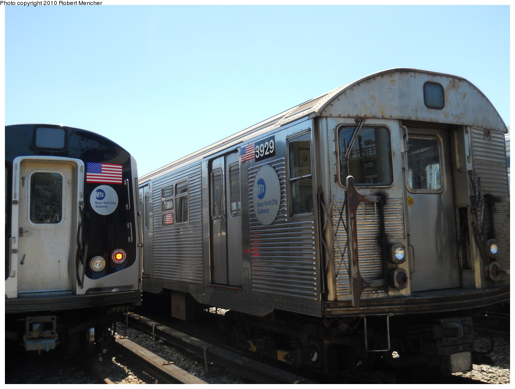 (221k, 1044x788)<br><b>Country:</b> United States<br><b>City:</b> New York<br><b>System:</b> New York City Transit<br><b>Location:</b> East New York Yard/Shops<br><b>Car:</b> R-32 (Budd, 1964)  3929 <br><b>Photo by:</b> Robert Mencher<br><b>Date:</b> 7/3/2010<br><b>Viewed (this week/total):</b> 0 / 469