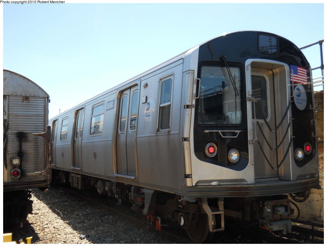 (226k, 1044x788)<br><b>Country:</b> United States<br><b>City:</b> New York<br><b>System:</b> New York City Transit<br><b>Location:</b> East New York Yard/Shops<br><b>Car:</b> R-160A-1 (Alstom, 2005-2008, 4 car sets)  8580 <br><b>Photo by:</b> Robert Mencher<br><b>Date:</b> 7/3/2010<br><b>Viewed (this week/total):</b> 0 / 155