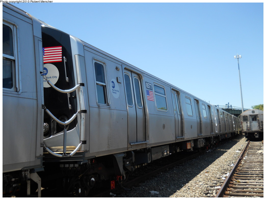 (234k, 1044x788)<br><b>Country:</b> United States<br><b>City:</b> New York<br><b>System:</b> New York City Transit<br><b>Location:</b> East New York Yard/Shops<br><b>Car:</b> R-160A-1 (Alstom, 2005-2008, 4 car sets)  8577 <br><b>Photo by:</b> Robert Mencher<br><b>Date:</b> 7/3/2010<br><b>Viewed (this week/total):</b> 2 / 523