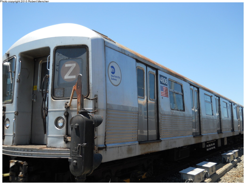 (215k, 1044x788)<br><b>Country:</b> United States<br><b>City:</b> New York<br><b>System:</b> New York City Transit<br><b>Location:</b> East New York Yard/Shops<br><b>Car:</b> R-42 (St. Louis, 1969-1970)  4806 <br><b>Photo by:</b> Robert Mencher<br><b>Date:</b> 7/3/2010<br><b>Viewed (this week/total):</b> 0 / 214