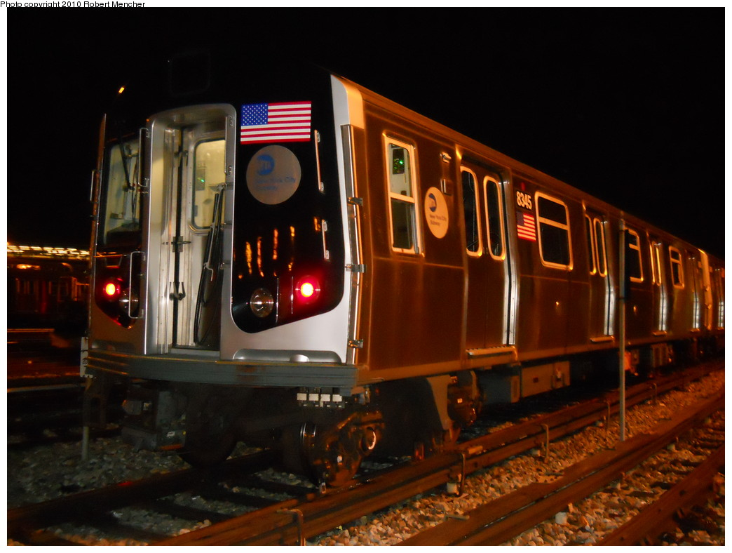 (242k, 1044x788)<br><b>Country:</b> United States<br><b>City:</b> New York<br><b>System:</b> New York City Transit<br><b>Location:</b> East New York Yard/Shops<br><b>Car:</b> R-160A-1 (Alstom, 2005-2008, 4 car sets)  8345 <br><b>Photo by:</b> Robert Mencher<br><b>Date:</b> 7/17/2010<br><b>Viewed (this week/total):</b> 0 / 282