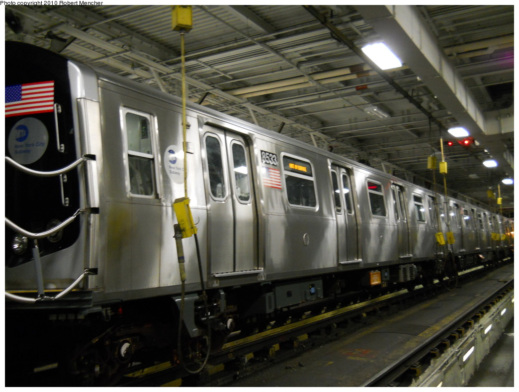 (254k, 1044x788)<br><b>Country:</b> United States<br><b>City:</b> New York<br><b>System:</b> New York City Transit<br><b>Location:</b> East New York Yard/Shops<br><b>Car:</b> R-160A-1 (Alstom, 2005-2008, 4 car sets)  8533 <br><b>Photo by:</b> Robert Mencher<br><b>Date:</b> 7/17/2010<br><b>Viewed (this week/total):</b> 0 / 777
