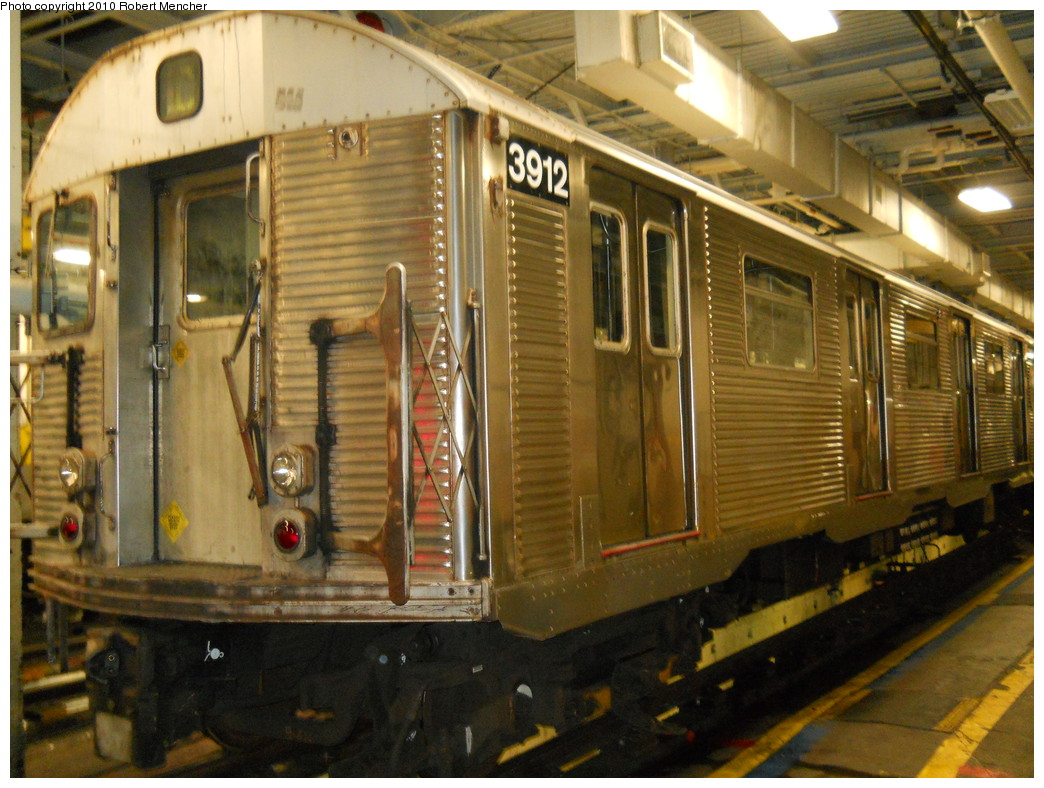 (294k, 1044x788)<br><b>Country:</b> United States<br><b>City:</b> New York<br><b>System:</b> New York City Transit<br><b>Location:</b> East New York Yard/Shops<br><b>Car:</b> R-32 (Budd, 1964)  3912 <br><b>Photo by:</b> Robert Mencher<br><b>Date:</b> 7/17/2010<br><b>Viewed (this week/total):</b> 1 / 635