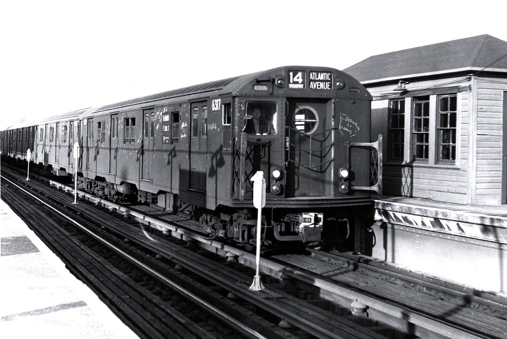 (183k, 1024x686)<br><b>Country:</b> United States<br><b>City:</b> New York<br><b>System:</b> New York City Transit<br><b>Line:</b> BMT Canarsie Line<br><b>Location:</b> Atlantic Avenue <br><b>Route:</b> BMT 14<br><b>Car:</b> R-16 (American Car & Foundry, 1955) 6317 <br><b>Collection of:</b> George Conrad Collection<br><b>Date:</b> 10/19/1962<br><b>Viewed (this week/total):</b> 5 / 2506