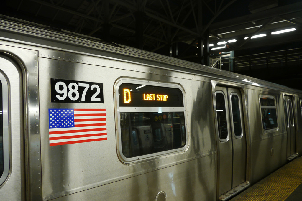 (211k, 1024x682)<br><b>Country:</b> United States<br><b>City:</b> New York<br><b>System:</b> New York City Transit<br><b>Location:</b> Coney Island/Stillwell Avenue<br><b>Route:</b> D (F-reroute)<br><b>Car:</b> R-160B (Option 2) (Kawasaki, 2009)  9872 <br><b>Photo by:</b> David Tropiansky<br><b>Date:</b> 7/8/2010<br><b>Viewed (this week/total):</b> 1 / 1646