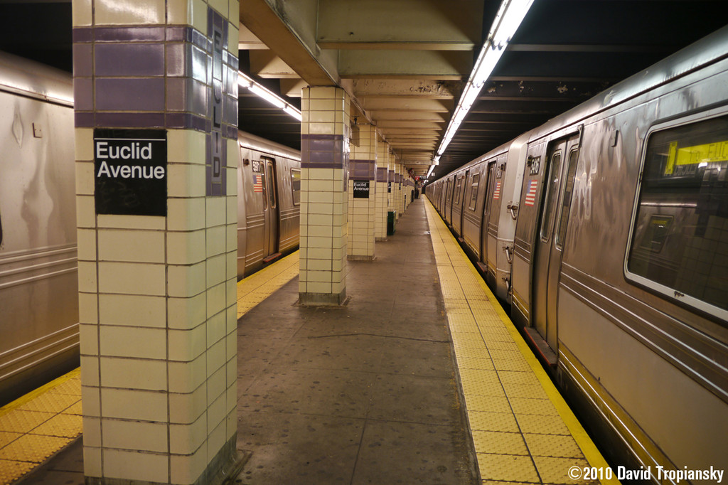 (237k, 1024x682)<br><b>Country:</b> United States<br><b>City:</b> New York<br><b>System:</b> New York City Transit<br><b>Line:</b> IND Fulton Street Line<br><b>Location:</b> Euclid Avenue <br><b>Route:</b> C<br><b>Car:</b> R-44 (St. Louis, 1971-73) 5416 <br><b>Photo by:</b> David Tropiansky<br><b>Date:</b> 7/16/2010<br><b>Notes:</b> R44 #5416 on the right and an R46 on the left<br><b>Viewed (this week/total):</b> 2 / 944