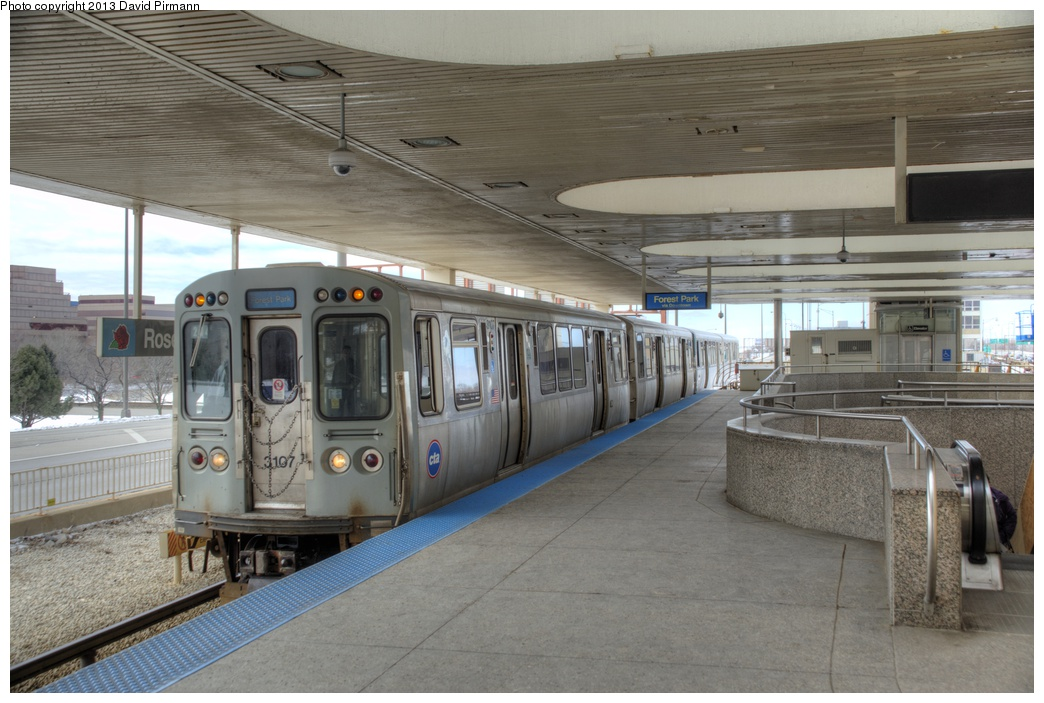 (267k, 1044x703)<br><b>Country:</b> United States<br><b>City:</b> Chicago, IL<br><b>System:</b> Chicago Transit Authority <br><b>Line:</b> CTA Blue (Forest Park-Dearborn-O'Hare)<br><b>Location:</b> Rosemont <br><b>Route:</b> Blue<br><b>Car:</b> CTA 2600 Series 3107 <br><b>Photo by:</b> David Pirmann<br><b>Date:</b> 3/2/2013<br><b>Viewed (this week/total):</b> 2 / 207