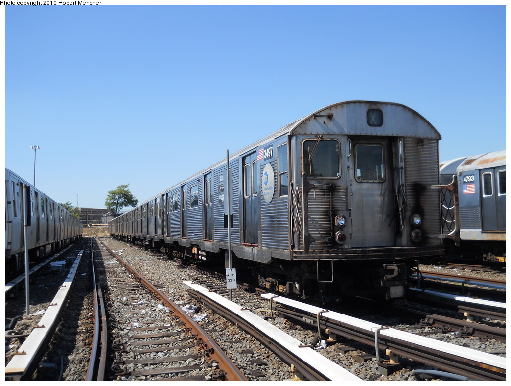 (287k, 1044x788)<br><b>Country:</b> United States<br><b>City:</b> New York<br><b>System:</b> New York City Transit<br><b>Location:</b> East New York Yard/Shops<br><b>Car:</b> R-32 (Budd, 1964)  3497 <br><b>Photo by:</b> Robert Mencher<br><b>Date:</b> 8/30/2010<br><b>Viewed (this week/total):</b> 0 / 768