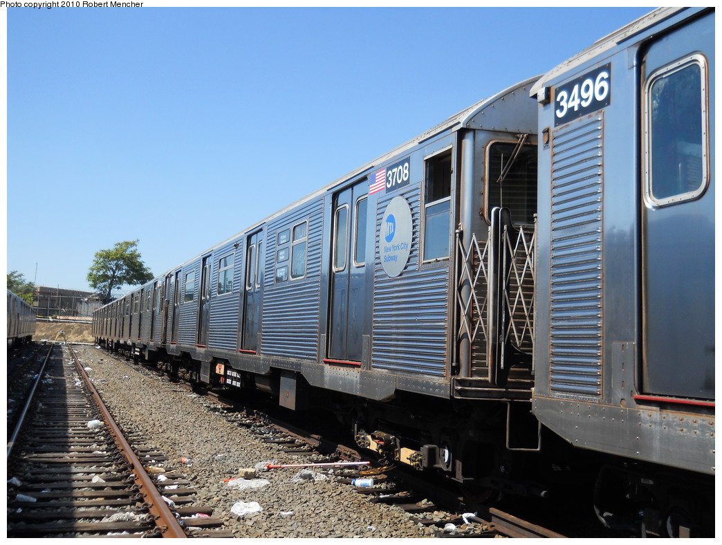(300k, 1044x788)<br><b>Country:</b> United States<br><b>City:</b> New York<br><b>System:</b> New York City Transit<br><b>Location:</b> East New York Yard/Shops<br><b>Car:</b> R-32 (Budd, 1964)  3708 <br><b>Photo by:</b> Robert Mencher<br><b>Date:</b> 8/30/2010<br><b>Viewed (this week/total):</b> 1 / 401