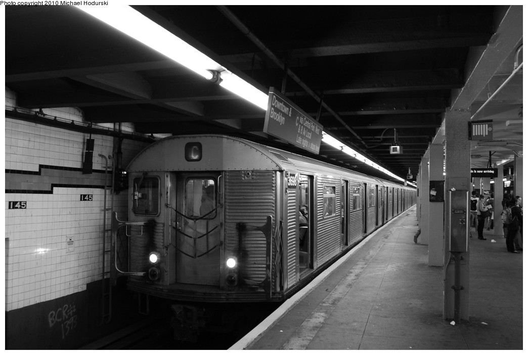 (198k, 1044x701)<br><b>Country:</b> United States<br><b>City:</b> New York<br><b>System:</b> New York City Transit<br><b>Line:</b> IND 8th Avenue Line<br><b>Location:</b> 145th Street <br><b>Route:</b> C<br><b>Car:</b> R-32 (Budd, 1964)  3698 <br><b>Photo by:</b> Michael Hodurski<br><b>Date:</b> 10/15/2010<br><b>Viewed (this week/total):</b> 3 / 889