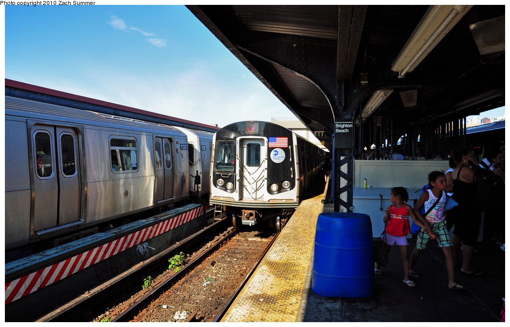 (263k, 1044x671)<br><b>Country:</b> United States<br><b>City:</b> New York<br><b>System:</b> New York City Transit<br><b>Line:</b> BMT Brighton Line<br><b>Location:</b> Brighton Beach <br><b>Route:</b> Q<br><b>Car:</b> R-160B (Option 1) (Kawasaki, 2008-2009)  9106 <br><b>Photo by:</b> Zach Summer<br><b>Date:</b> 7/4/2010<br><b>Notes:</b> Q trains terminating at Brighton Beach due to track fire at Coney Island<br><b>Viewed (this week/total):</b> 0 / 573