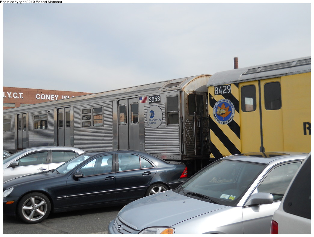 (224k, 1044x788)<br><b>Country:</b> United States<br><b>City:</b> New York<br><b>System:</b> New York City Transit<br><b>Location:</b> Coney Island Yard<br><b>Car:</b> R-32 (Budd, 1964)  3553 <br><b>Photo by:</b> Robert Mencher<br><b>Date:</b> 10/20/2010<br><b>Viewed (this week/total):</b> 4 / 459