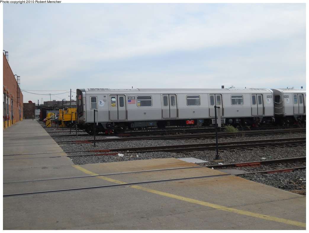 (221k, 1044x788)<br><b>Country:</b> United States<br><b>City:</b> New York<br><b>System:</b> New York City Transit<br><b>Location:</b> Coney Island Yard<br><b>Car:</b> R-160A (Option 1) (Alstom, 2008-2009, 5 car sets)  9438 <br><b>Photo by:</b> Robert Mencher<br><b>Date:</b> 10/20/2010<br><b>Viewed (this week/total):</b> 1 / 511