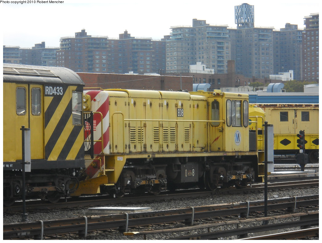 (284k, 1044x788)<br><b>Country:</b> United States<br><b>City:</b> New York<br><b>System:</b> New York City Transit<br><b>Location:</b> Coney Island Yard<br><b>Car:</b> R-77E Locomotive  E08 <br><b>Photo by:</b> Robert Mencher<br><b>Date:</b> 10/20/2010<br><b>Viewed (this week/total):</b> 1 / 187