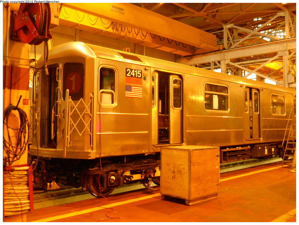 (320k, 1044x788)<br><b>Country:</b> United States<br><b>City:</b> New York<br><b>System:</b> New York City Transit<br><b>Location:</b> Coney Island Shop/Overhaul & Repair Shop<br><b>Car:</b> R-62A (Bombardier, 1984-1987)  2415 <br><b>Photo by:</b> Robert Mencher<br><b>Date:</b> 10/20/2010<br><b>Viewed (this week/total):</b> 1 / 429